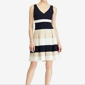 Navy, Beige & White Colorblock Dress